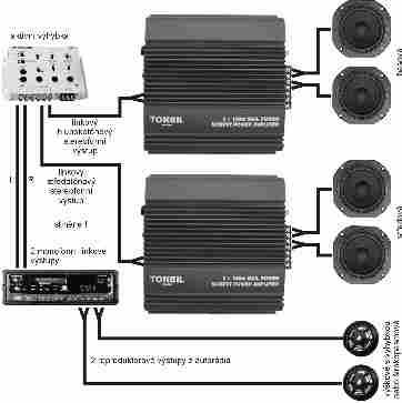 """Obr. 5.Signálové připojení aktivní """"výhybky"""":http://www.dexon.cz/katalog/konstrukcni-material/vyhybky/, výšková sekce bez zesilovače"""